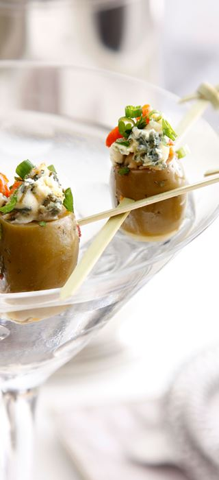 Green olives stuffed with chorizo and Blue Cheese
