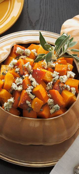 Roasted butternut squash with sage and Blue Cheese