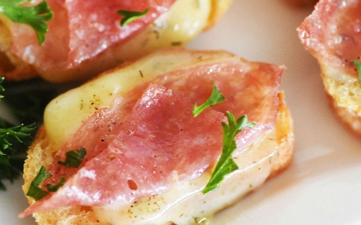 Salami and dill Havarti crostini