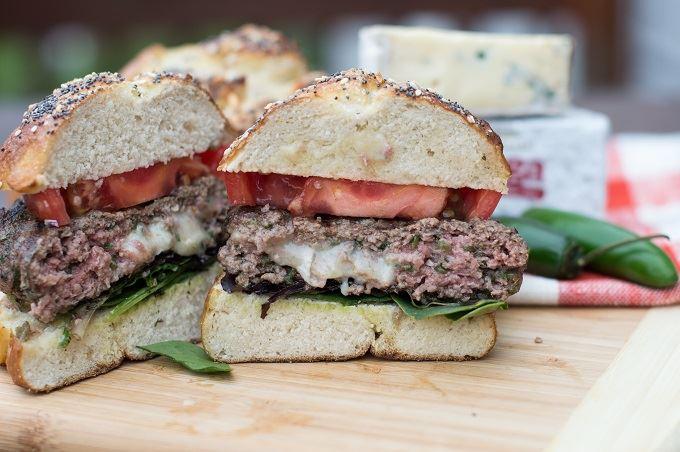 Spicy Blue Brie stuffed burger