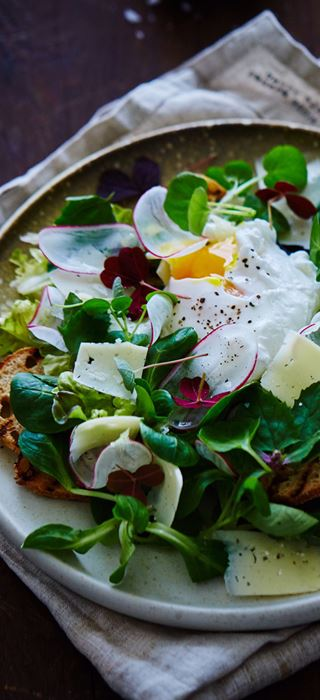 Spring salad with poached eggs, Havarti and croutons