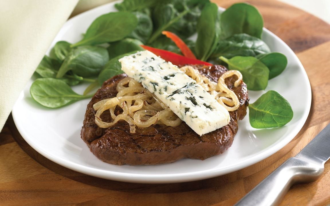 Steak with caraway onions and Blue Cheese