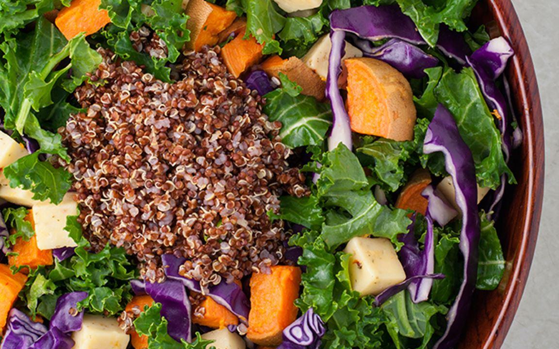 Sweet potato & kale salad with Havarti Cheese