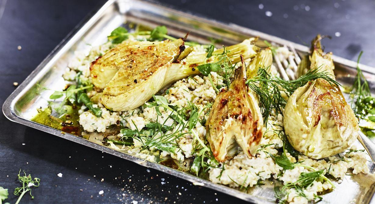 Vi har alltid en varm, tillagad vegorätt på menyn. Det gör både vegetarianer och de som vill ta en grön dag lyckliga. Mixen av bulgur och syrad grädde ger en krämig smakkrock mellan Nordens och Mellanösterns kök.