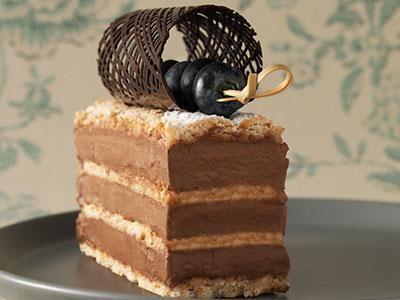 En ny form på klassisk botten med en chokladbavaroise och färska blåbär.