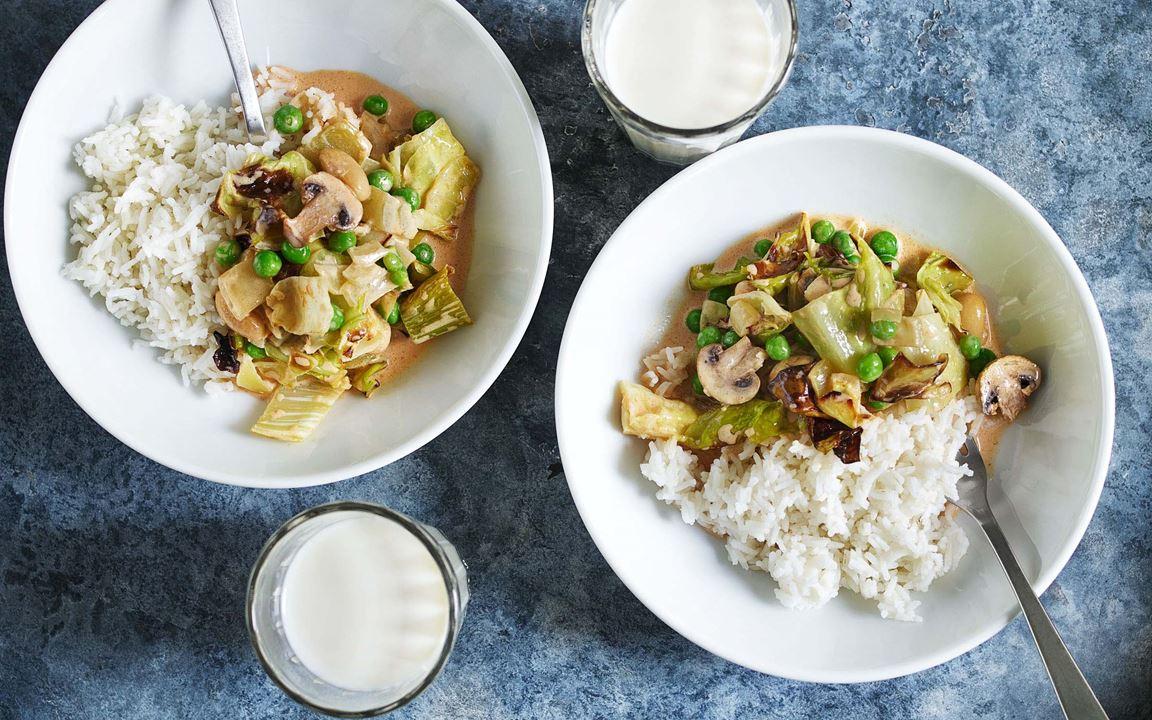 Grönsaksstroganoff med ris