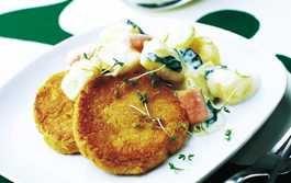 vegetariska kikärtsbiffar med krämig potatis