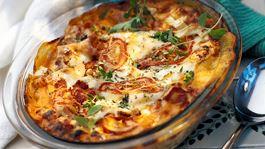 Lasagne med varmrökt lax och vitost