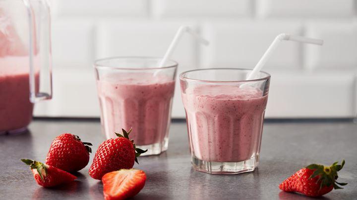 Mjölkdrink med jordgubbar
