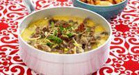 God och mustig gryta med nöt och svamp. Passar bra för storkök med sin korta tillagningstid.  Specialkost: Går att göra laktosfri genom att byta till laktosfria produkter.
