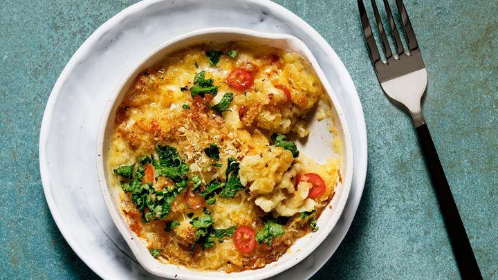 Potatisspätzle med Svecia, chili, lime och persilja