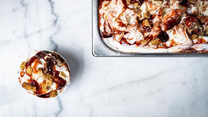 Strawberry cheesecake gelato